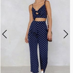 Pants set, navy blue & polka dot